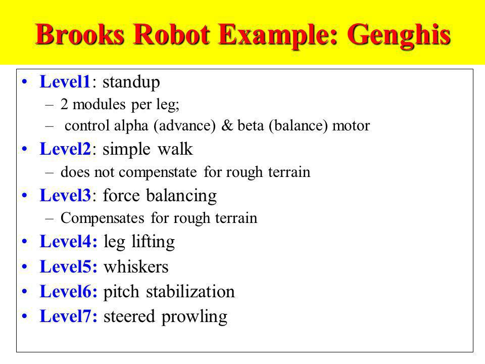 Brooks Robot Example: Genghis