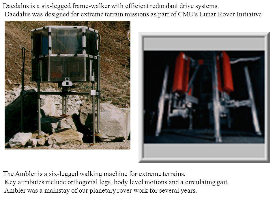 Daedalus is a six-legged frame-walker with efficient redundant drive systems.