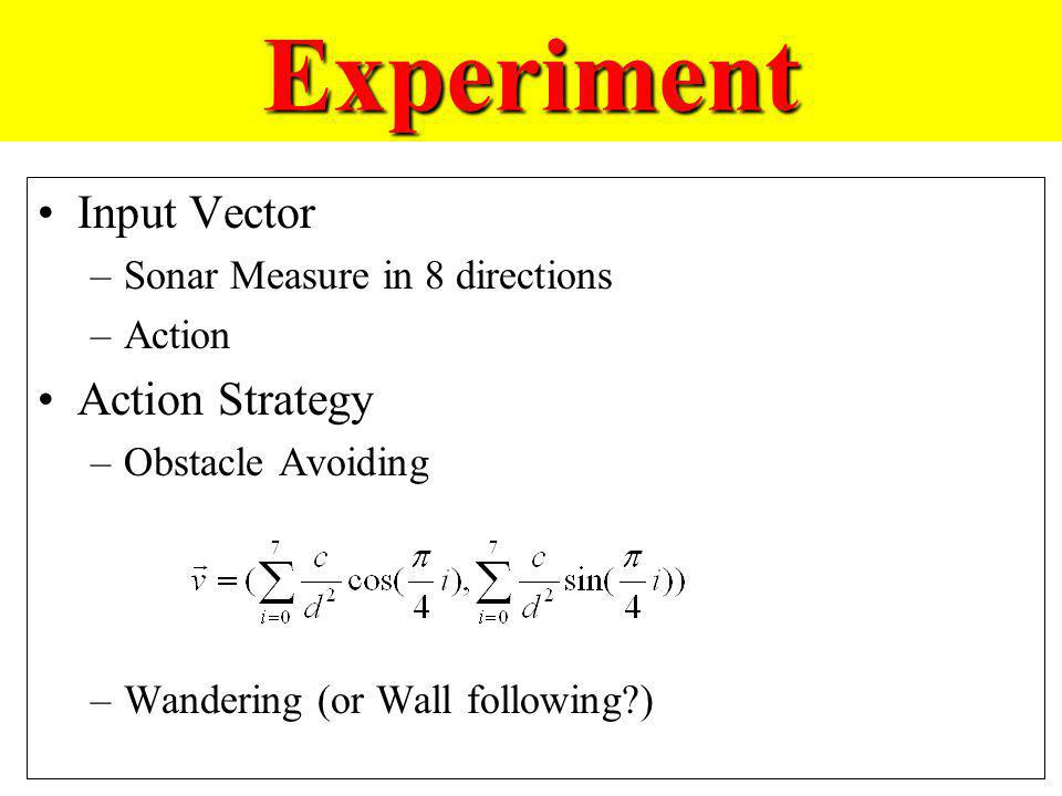 Experiment Input Vector Action Strategy Sonar Measure in 8 directions