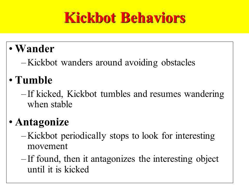 Kickbot Behaviors Wander Tumble Antagonize