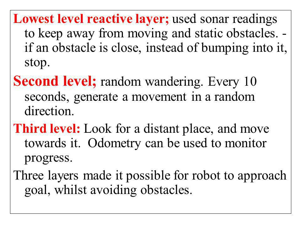 Lowest level reactive layer; used sonar readings to keep away from moving and static obstacles. - if an obstacle is close, instead of bumping into it, stop.