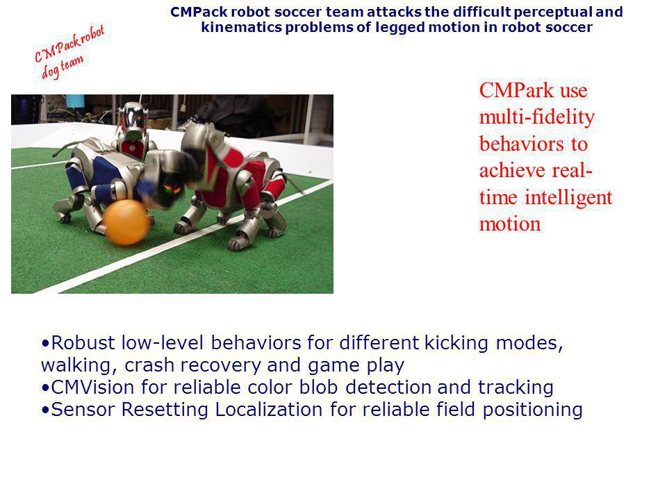 CMPack robot soccer team attacks the difficult perceptual and kinematics problems of legged motion in robot soccer