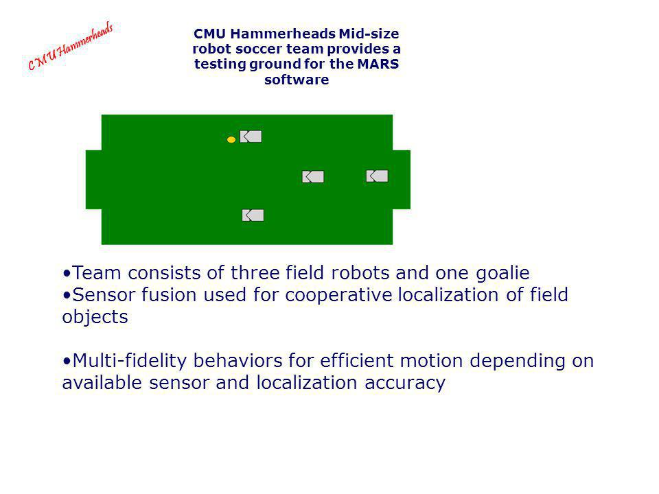 Team consists of three field robots and one goalie