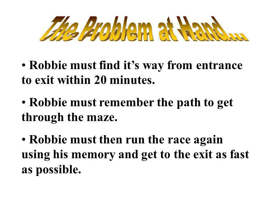 The Problem at Hand... Robbie must find it's way from entrance to exit within 20 minutes. Robbie must remember the path to get through the maze.