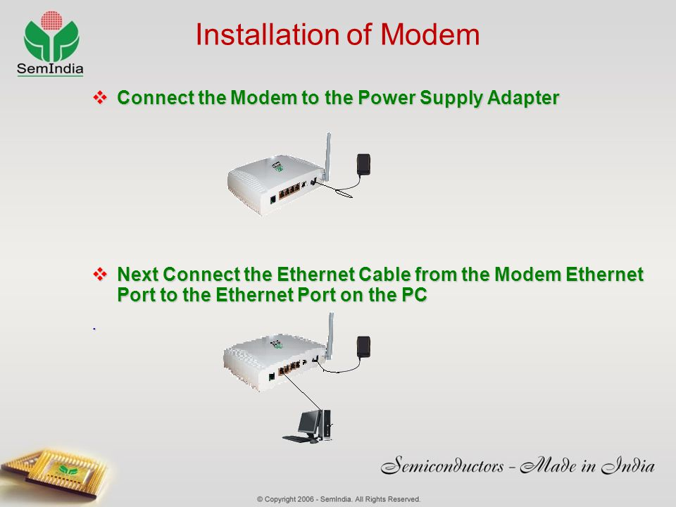 Installation of Modem Connect the Modem to the Power Supply Adapter