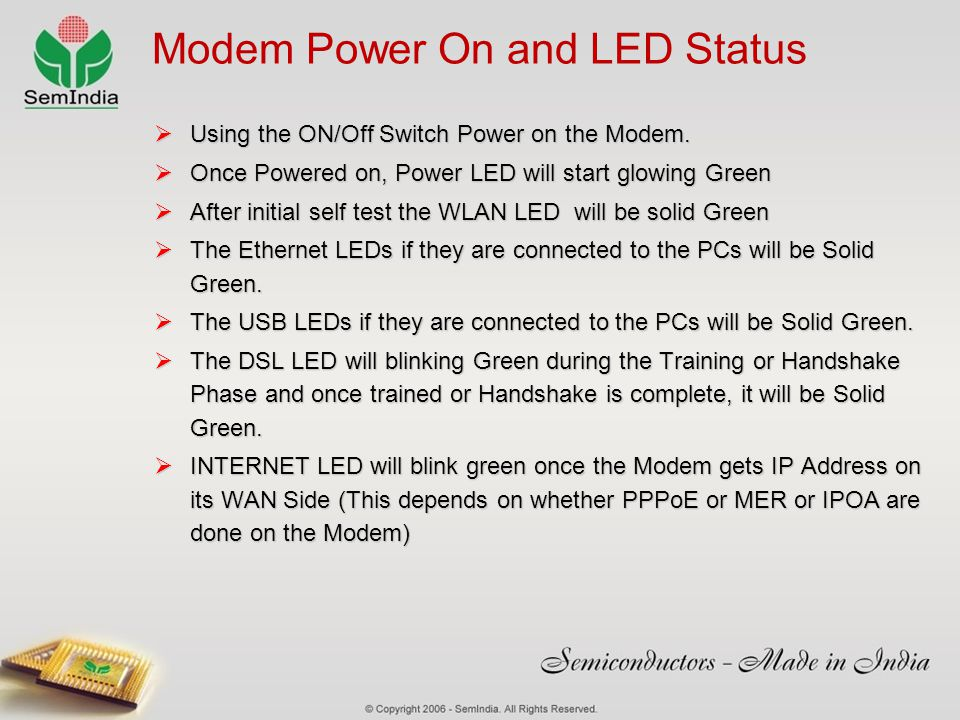 Modem Power On and LED Status