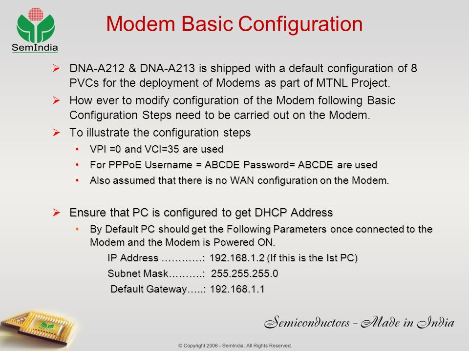 Modem Basic Configuration