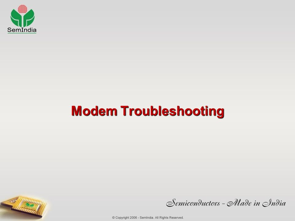Modem Troubleshooting