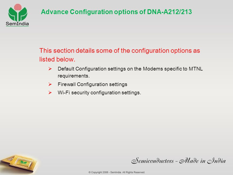 Advance Configuration options of DNA-A212/213