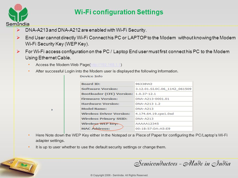 Wi-Fi configuration Settings