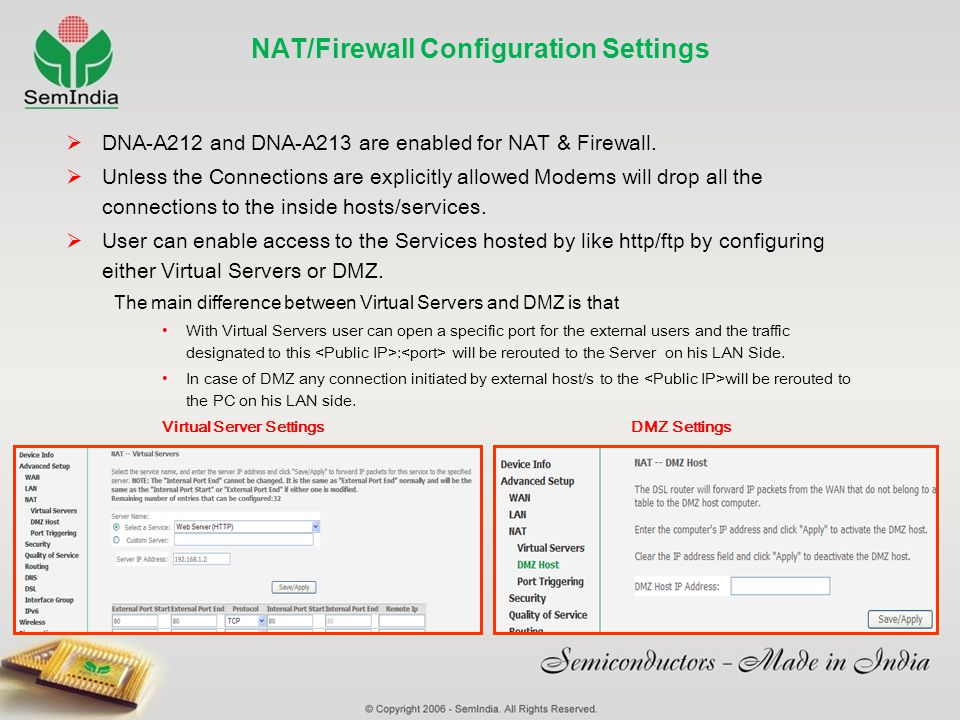 NAT/Firewall Configuration Settings