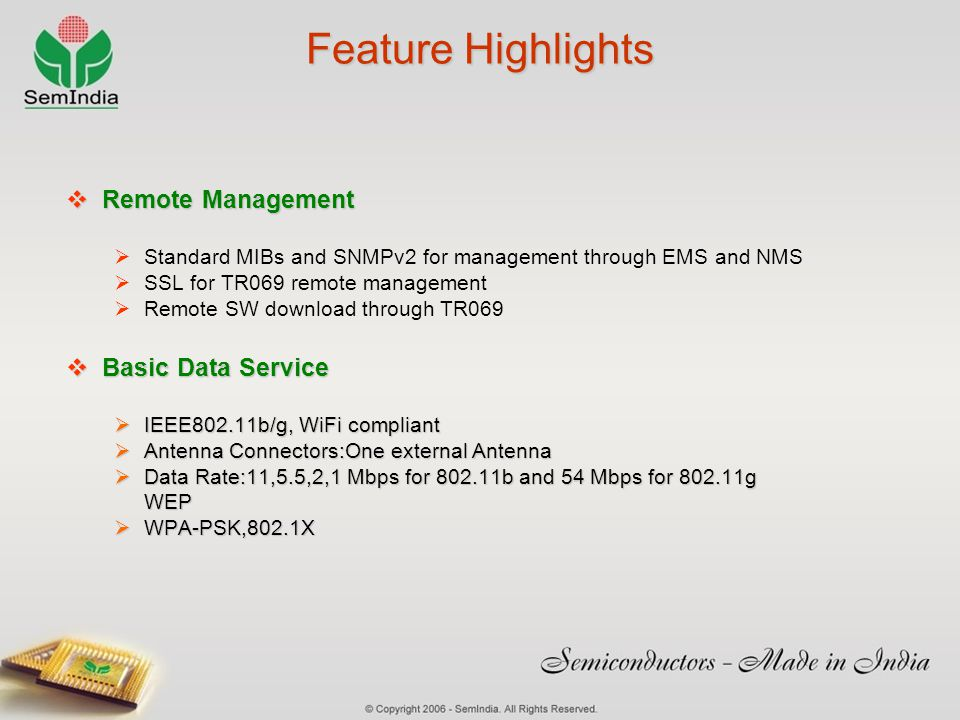Feature Highlights Remote Management Basic Data Service
