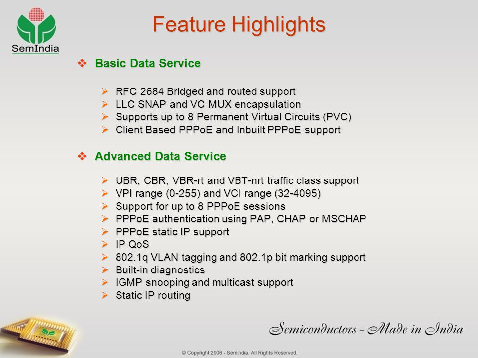 Feature Highlights Basic Data Service Advanced Data Service