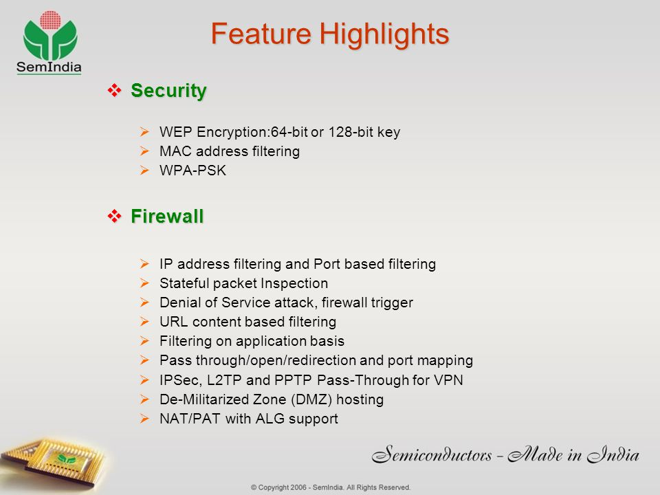 Feature Highlights Security Firewall