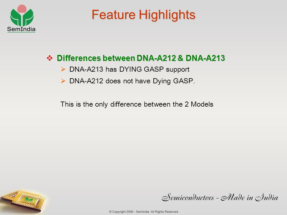 Feature Highlights Differences between DNA-A212 & DNA-A213