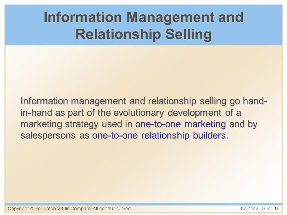 Information Management and Relationship Selling