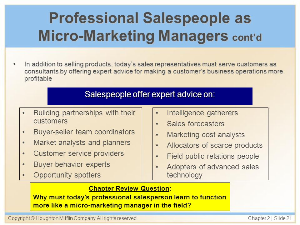 Professional Salespeople as Micro-Marketing Managers cont'd
