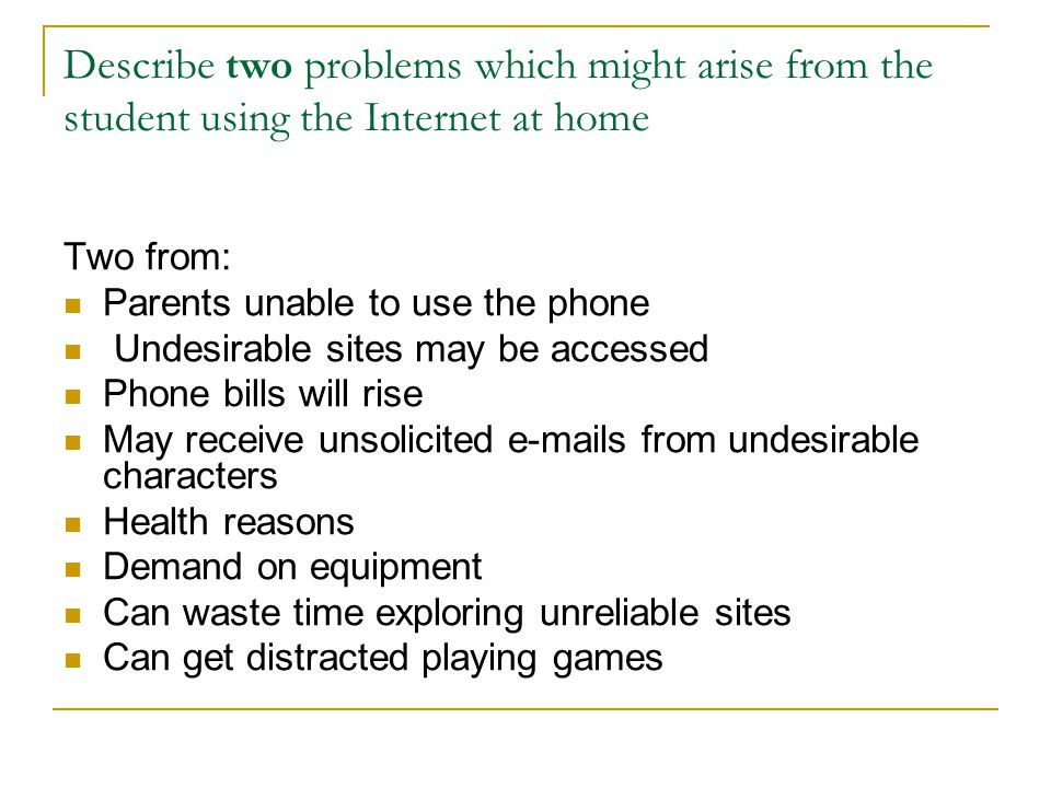 Describe two problems which might arise from the student using the Internet at home