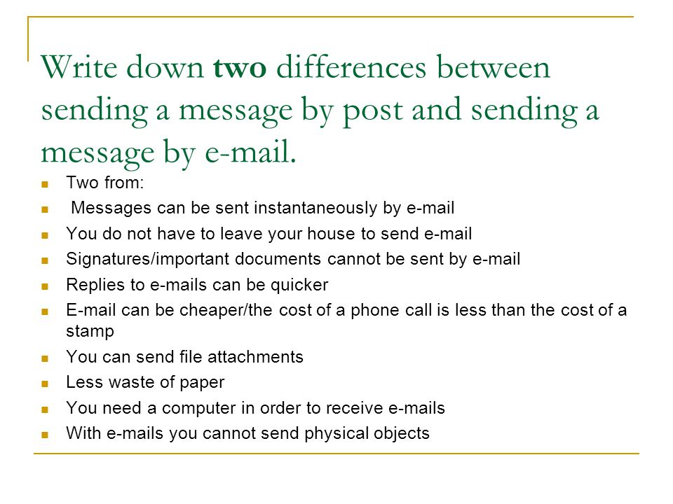 Write down two differences between sending a message by post and sending a message by e-mail.