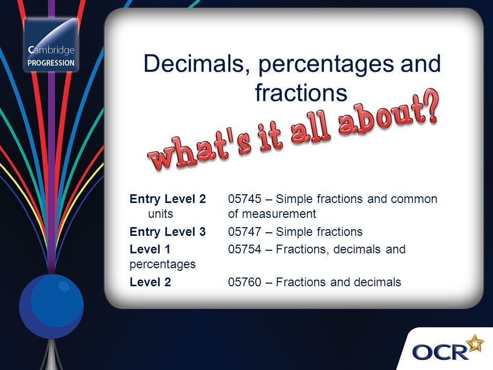 Decimals, percentages and fractions