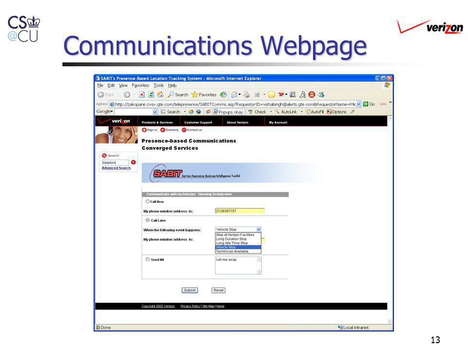Communications Webpage