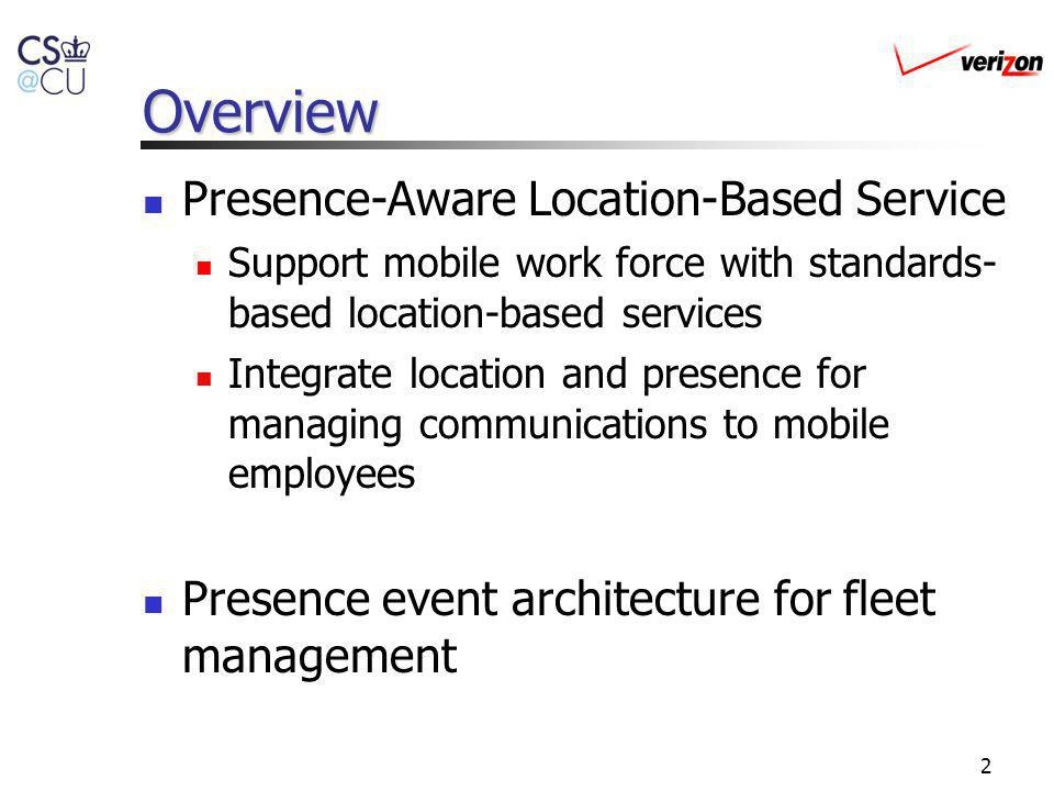 Overview Presence-Aware Location-Based Service