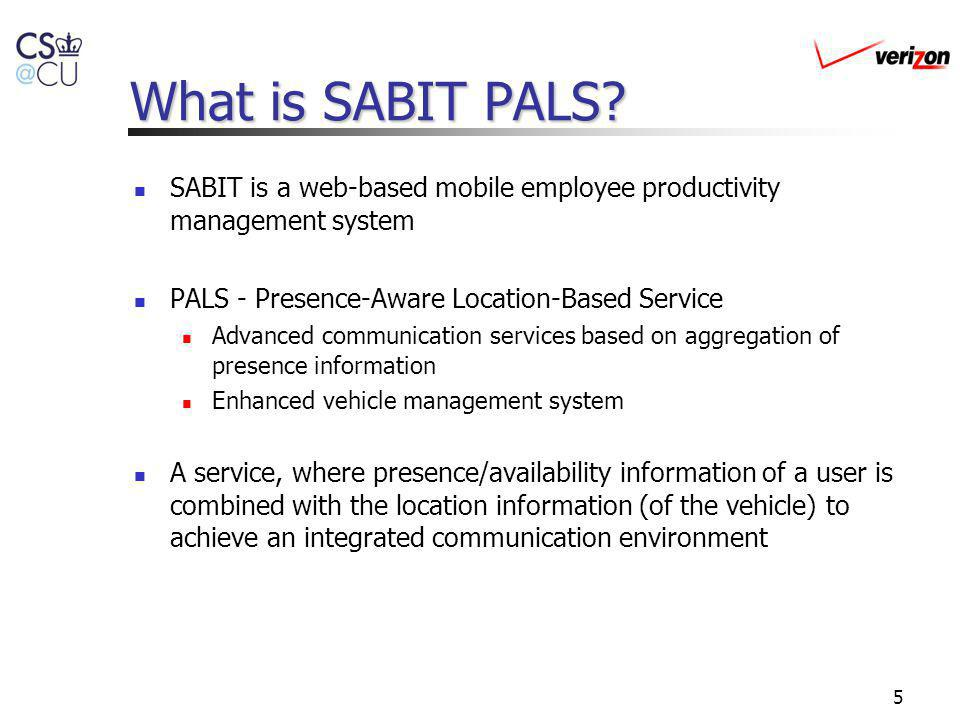 What is SABIT PALS SABIT is a web-based mobile employee productivity management system. PALS - Presence-Aware Location-Based Service.