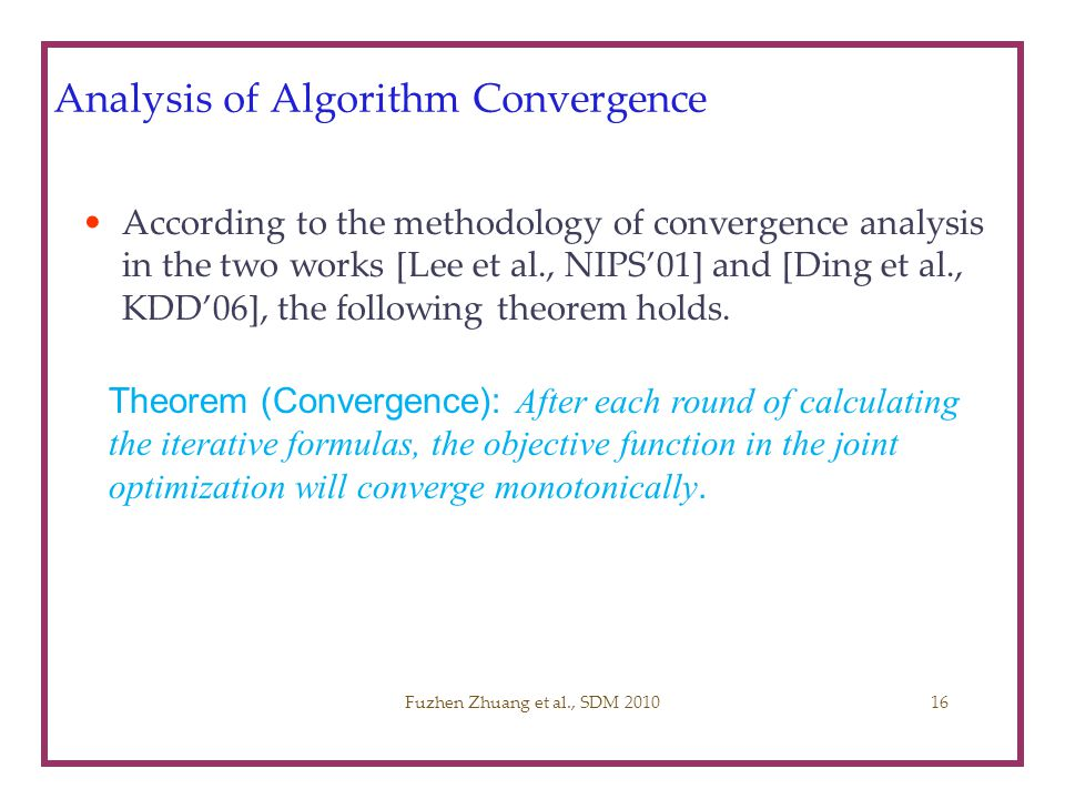 Analysis of Algorithm Convergence
