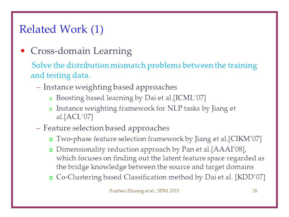 Related Work (1) Cross-domain Learning