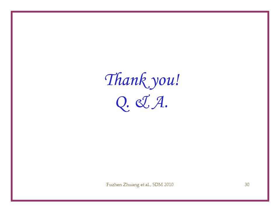 Thank you! Q. & A. Acknowledgement Fuzhen Zhuang SDM 2010