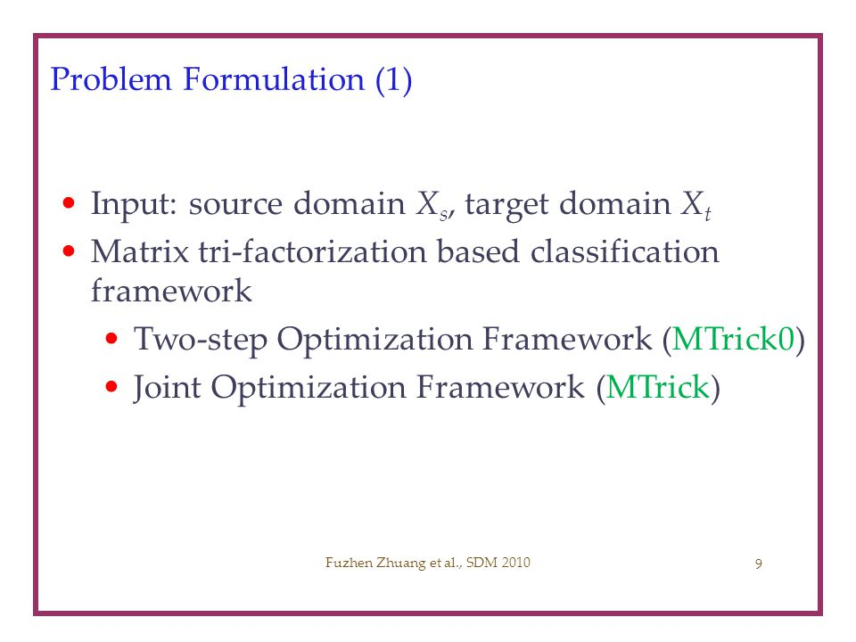 Problem Formulation (1)