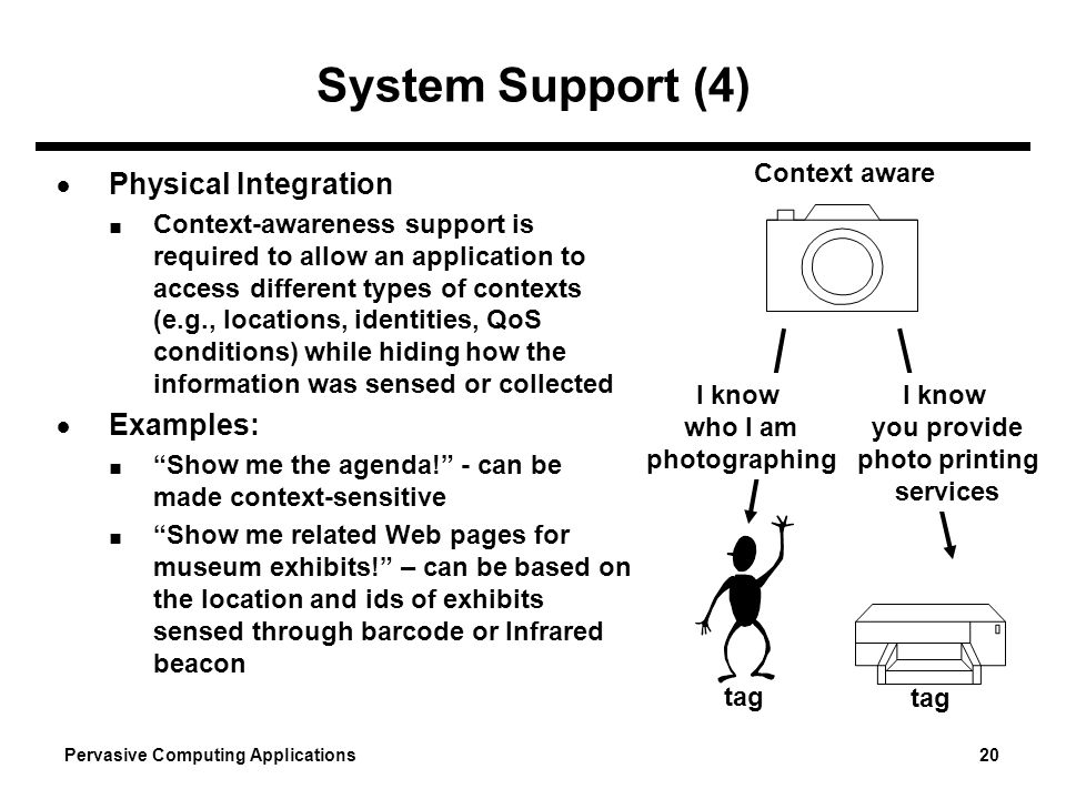 System Support (4) Physical Integration Examples: Context aware