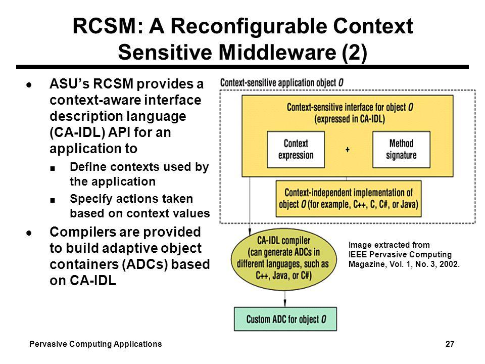 RCSM: A Reconfigurable Context Sensitive Middleware (2)