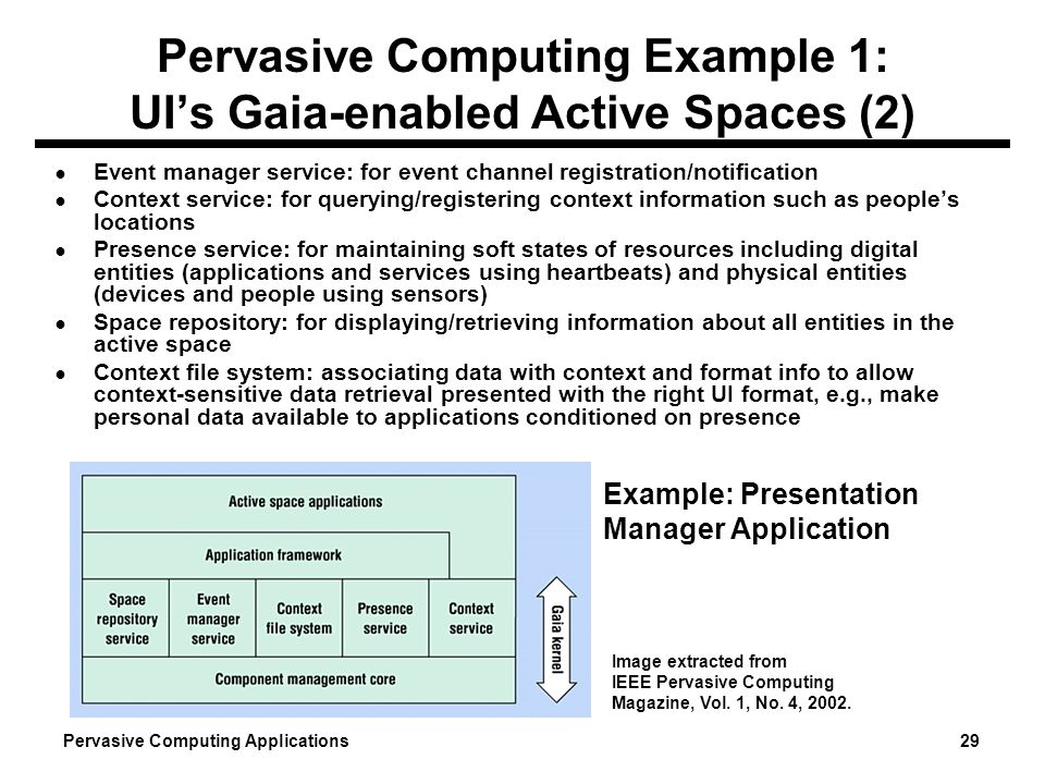Pervasive Computing Example 1: UI's Gaia-enabled Active Spaces (2)