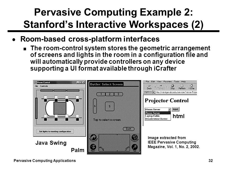 Pervasive Computing Example 2: Stanford's Interactive Workspaces (2)