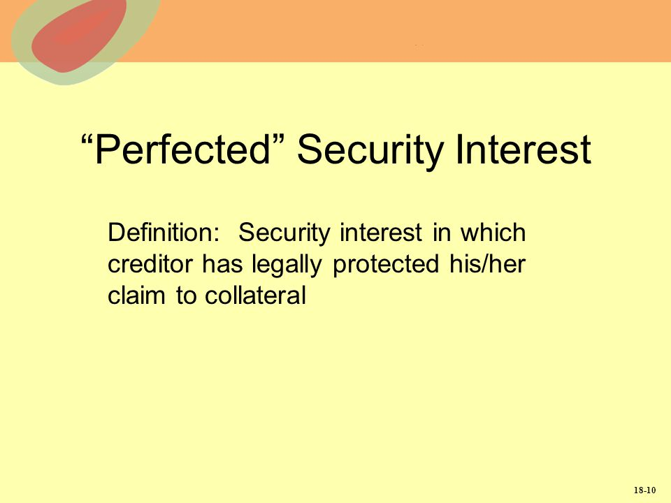 Perfected Security Interest