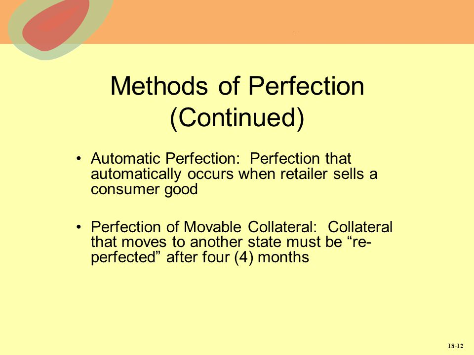 Methods of Perfection (Continued)