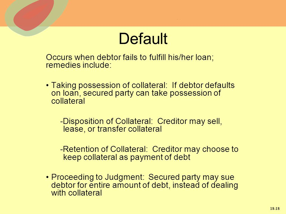 Default Occurs when debtor fails to fulfill his/her loan; remedies include: