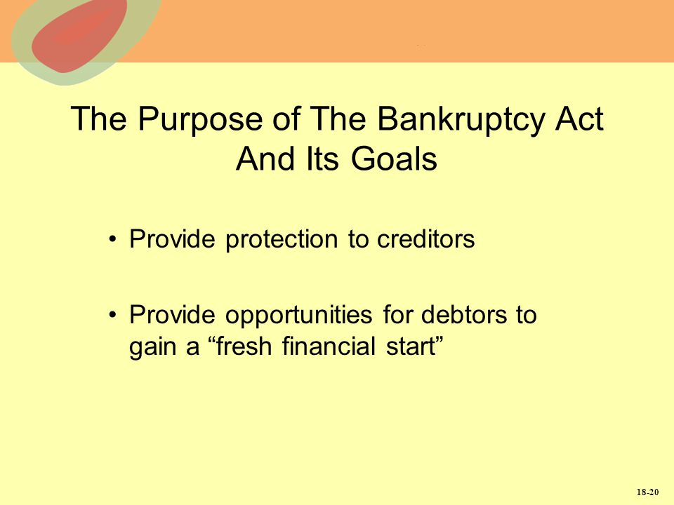 The Purpose of The Bankruptcy Act And Its Goals