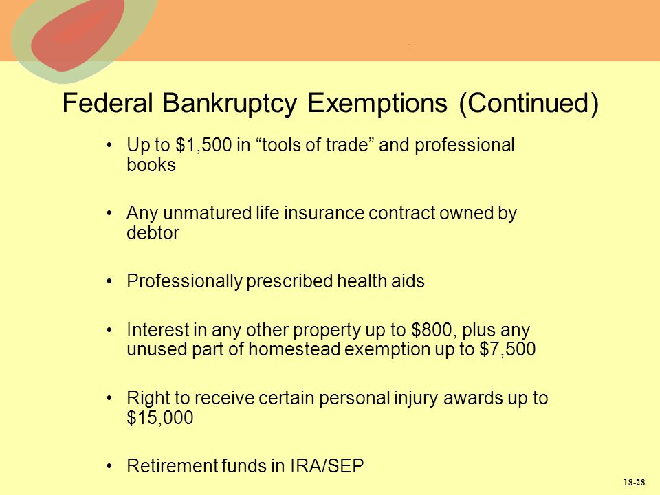 Federal Bankruptcy Exemptions (Continued)