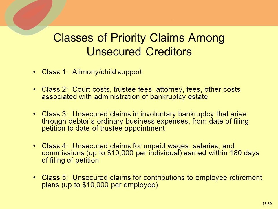 Classes of Priority Claims Among Unsecured Creditors