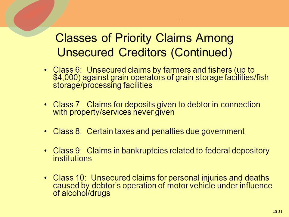 Classes of Priority Claims Among Unsecured Creditors (Continued)