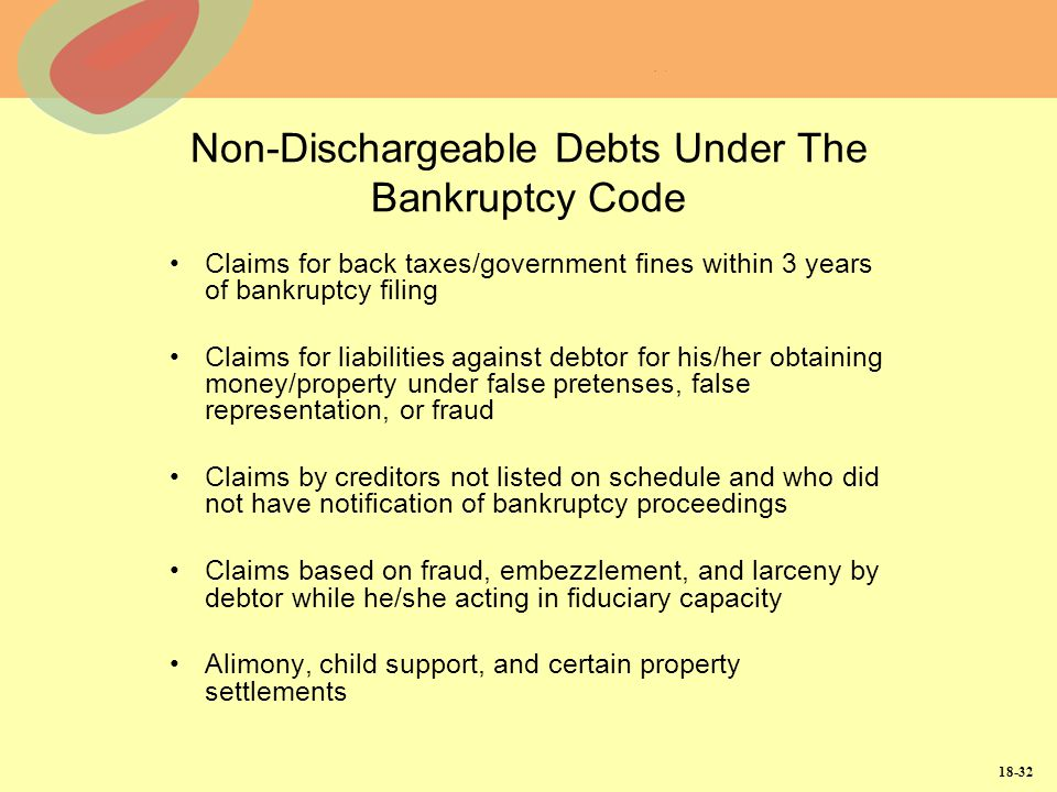 Non-Dischargeable Debts Under The Bankruptcy Code