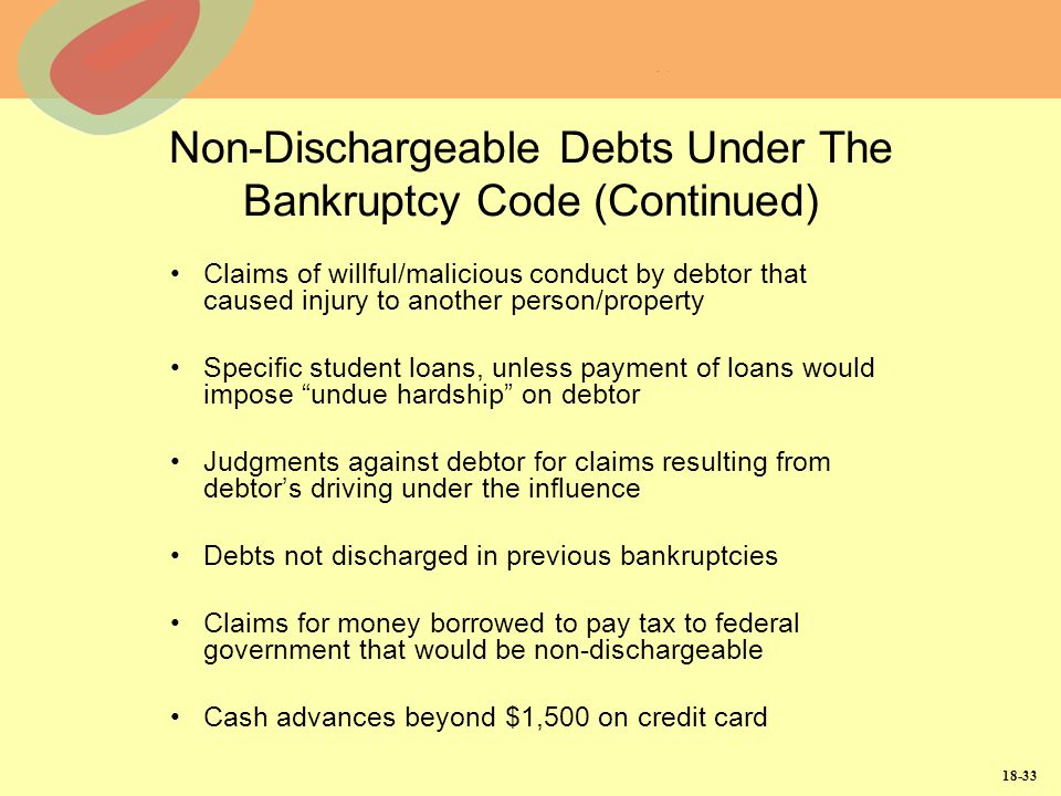 Non-Dischargeable Debts Under The Bankruptcy Code (Continued)