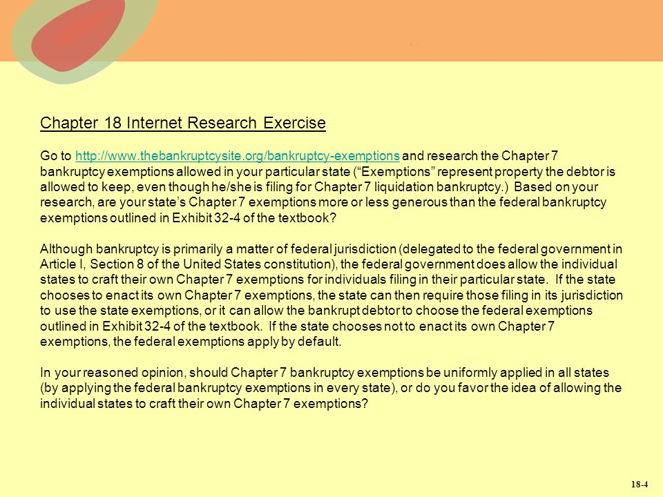 Chapter 18 Internet Research Exercise Go to http://www