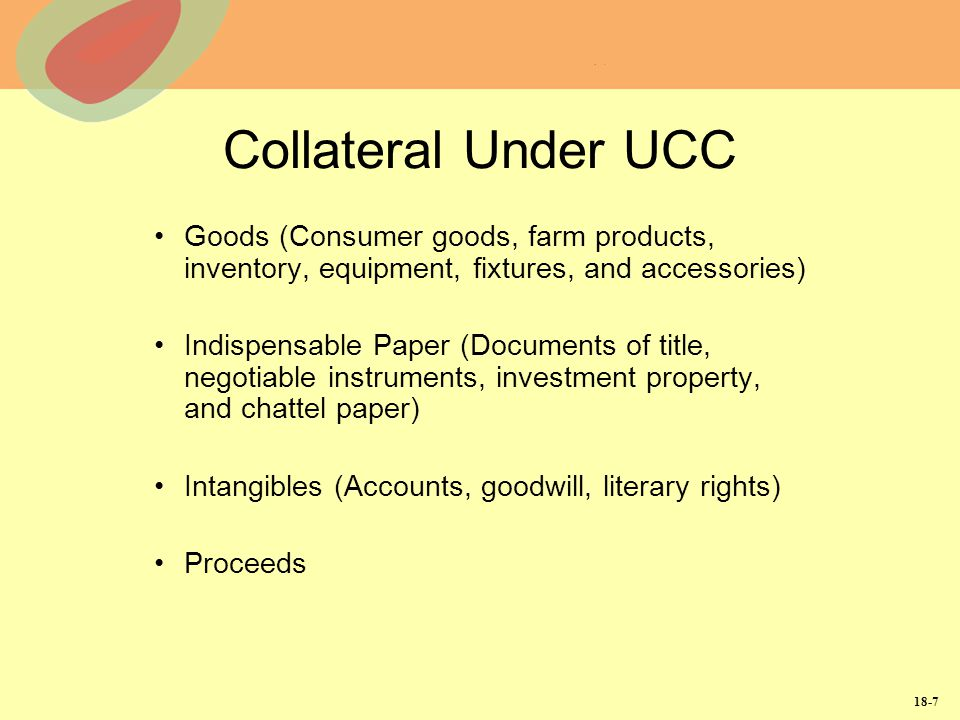 Collateral Under UCC Goods (Consumer goods, farm products, inventory, equipment, fixtures, and accessories)