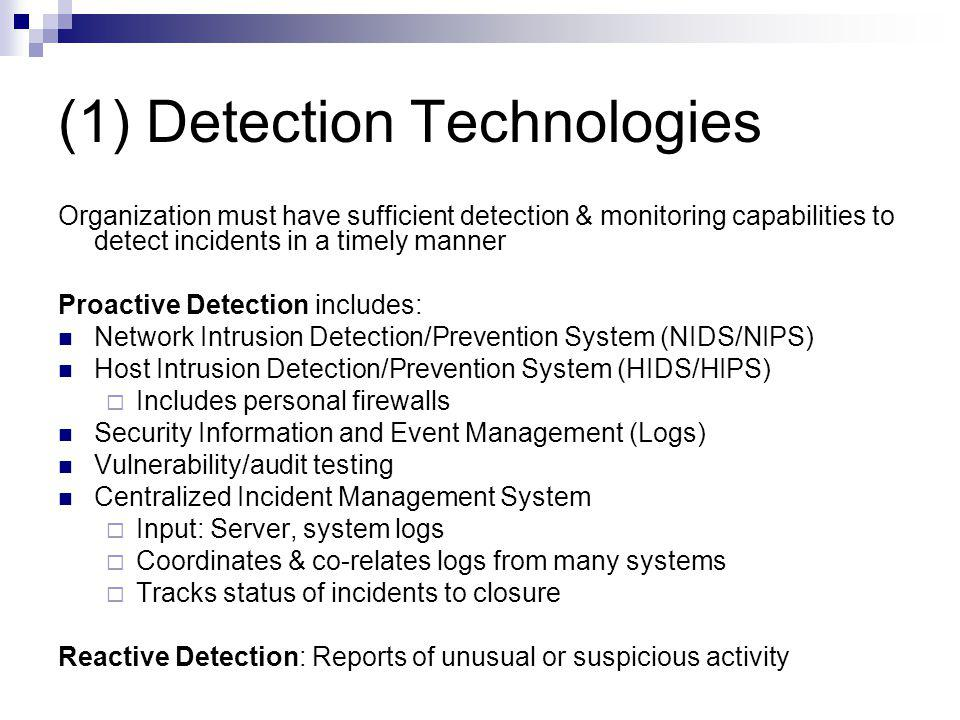 (1) Detection Technologies
