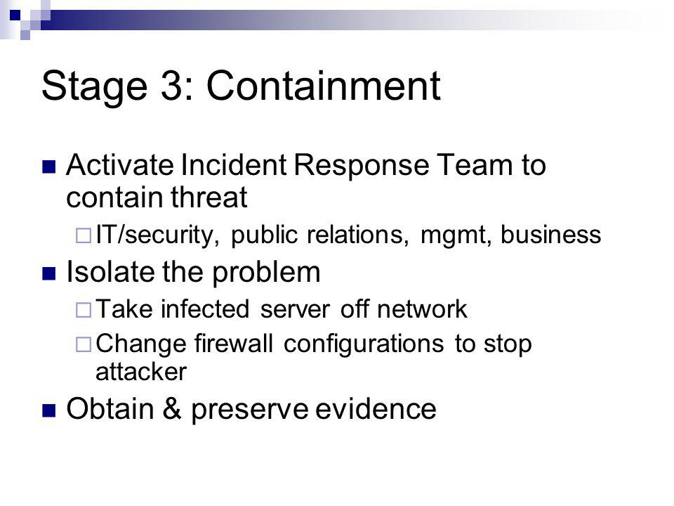 Stage 3: Containment Activate Incident Response Team to contain threat