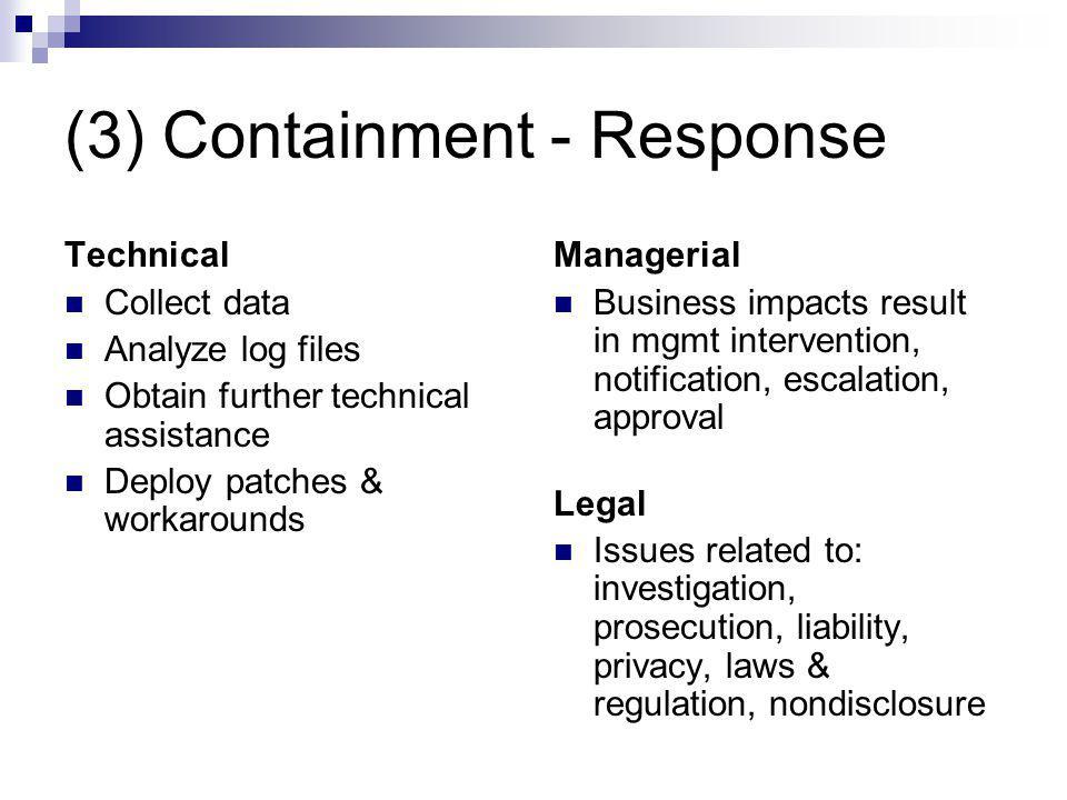 (3) Containment - Response