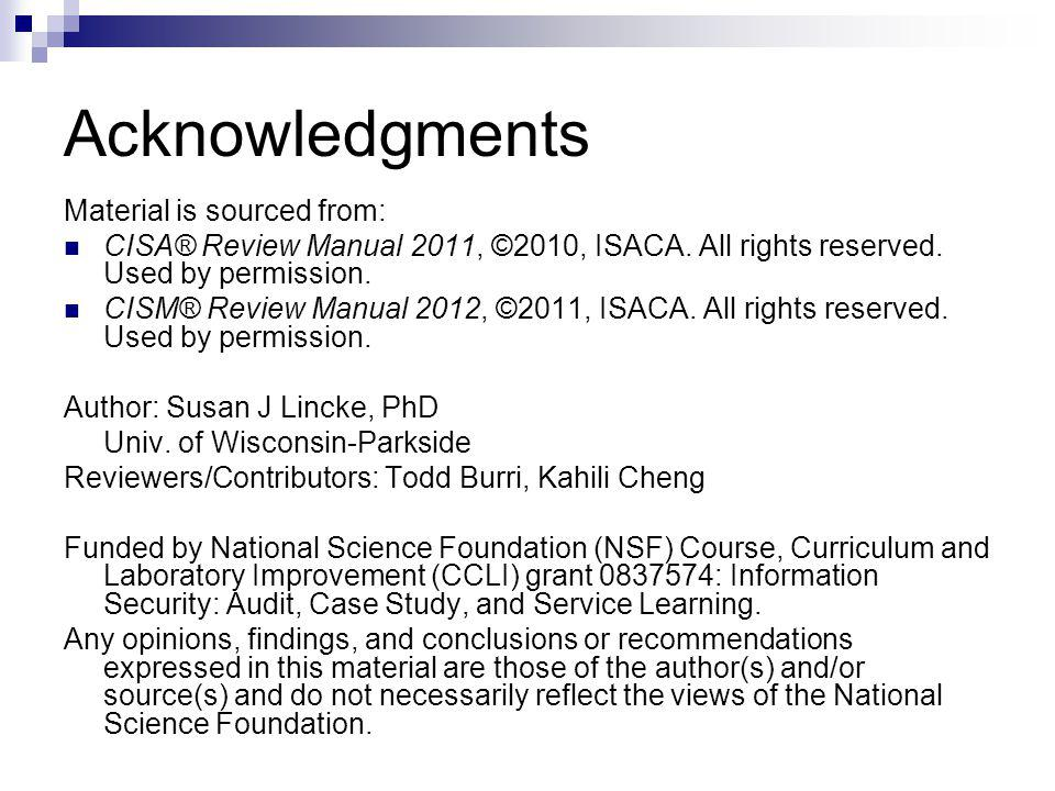 Acknowledgments Material is sourced from: